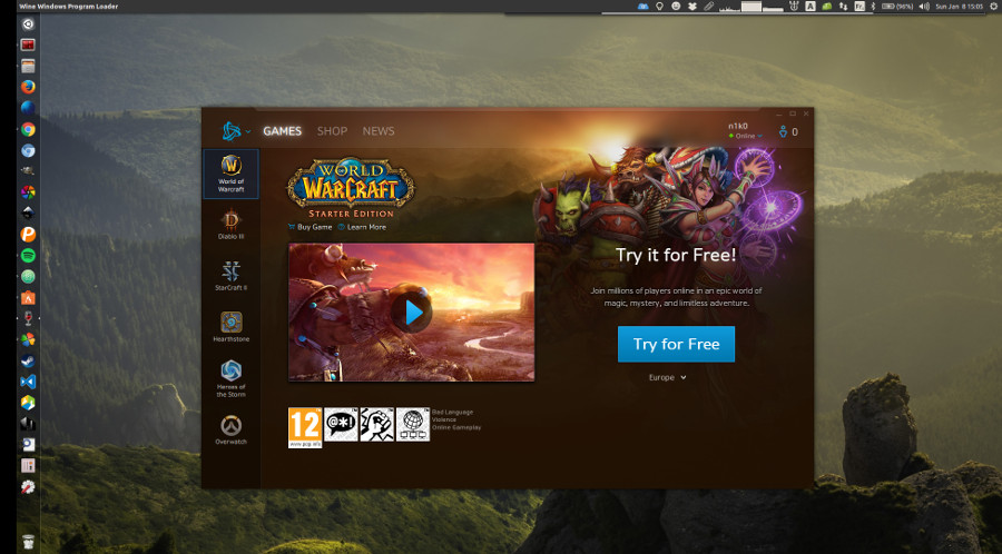 Battle.net via PlayOnLinux